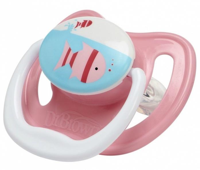 Пустышка Dr. Brown's силиконовая ортодонтическая PreVent 0-6мес Бабочка розовая PV11304