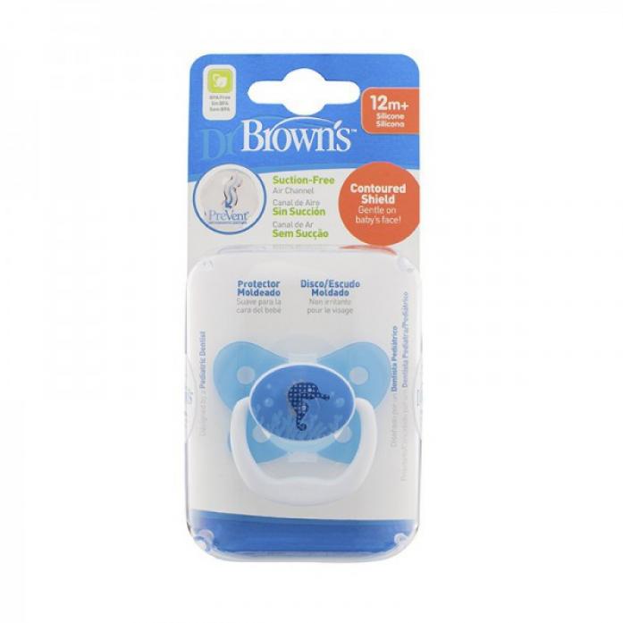 Пустышка Dr. Brown's силиконовая ортодонтическая PreVent 12 мес Бабочка синяя PV31404