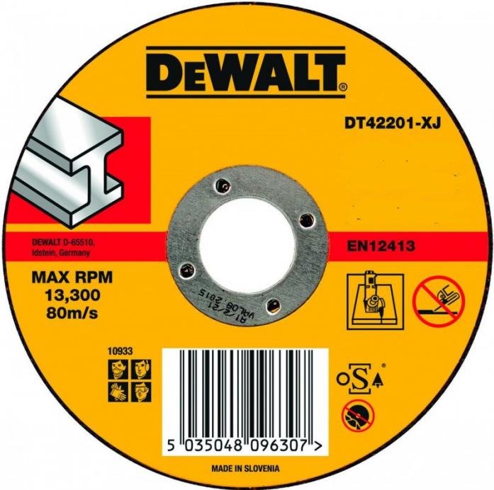 Диск отрезной по металлу (115х22.2 мм) для УШМ DeWalt 42201