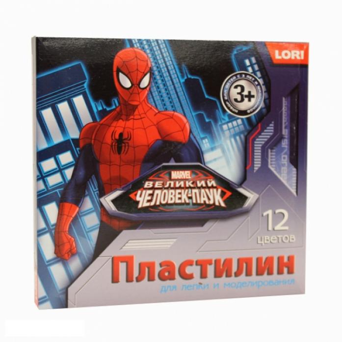 Пластилин Lori Человек-паук 12 цветов Плд-011