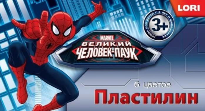 Пластилин Lori Человек-паук 6 цветов Плд-009