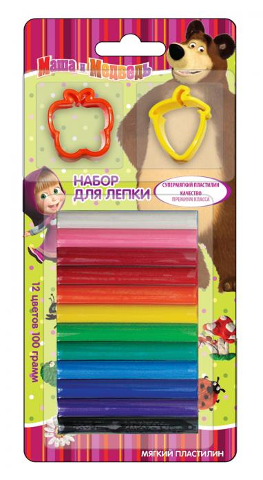 Пластилин Росмэн Маша и Медведь 12 цветов + формочки 26203