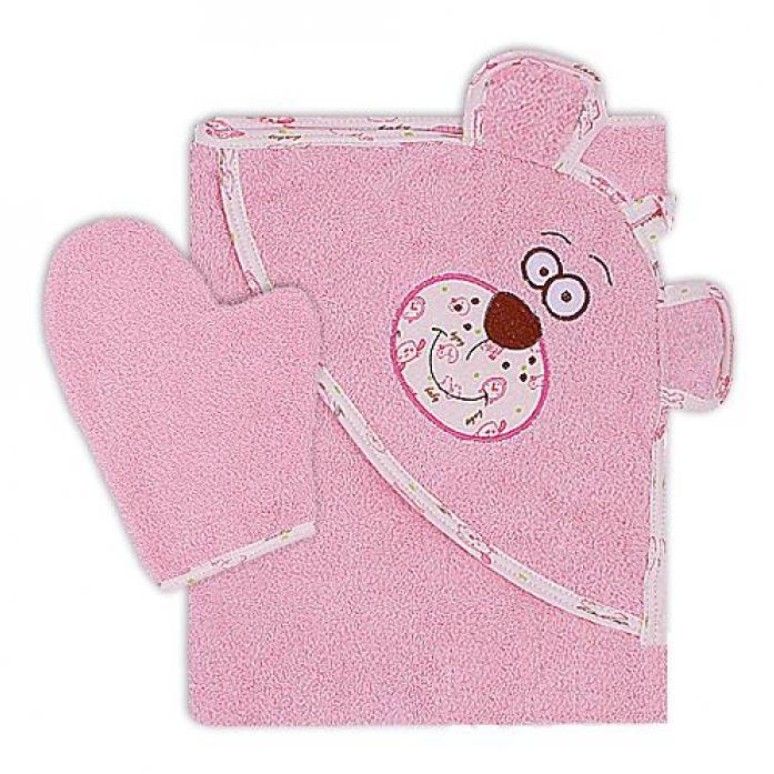 Полотенце Мотылек Мишка махровое 100*110 розовый К24/1