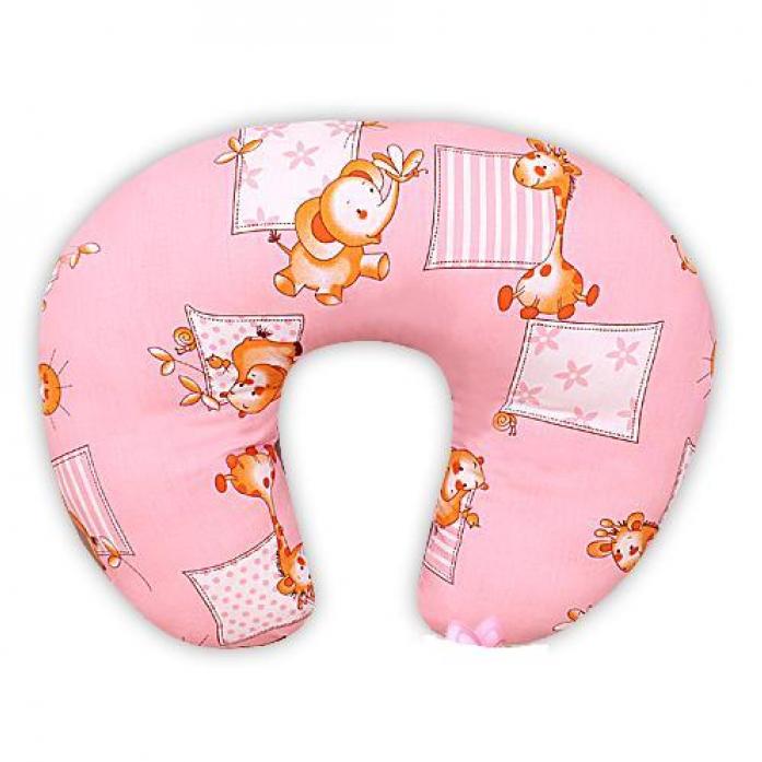 Подушка для кормления и чехол на молнии Мотылек розовая к36