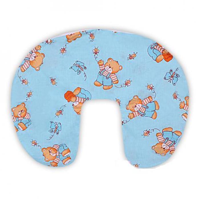 Подушка для кормления и чехол на молнии Мотылек голубая к36