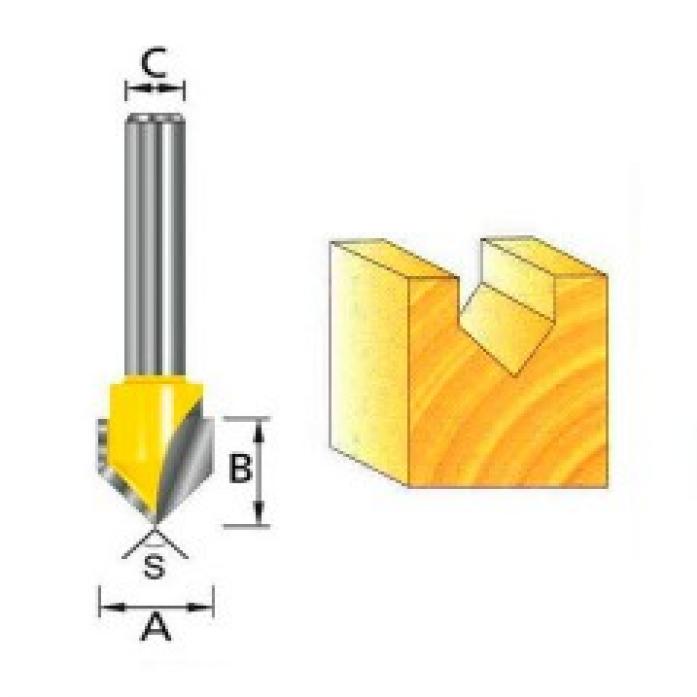 Фреза для V-образных пазов Makita 12х12.7х3212.7мм D-10702