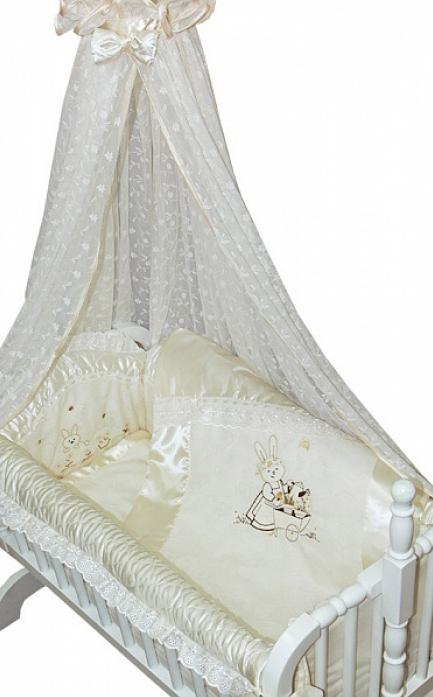 Комплект постельного белья Золотой Гусь Эстель бежевый 7 предметов в люльку 1633