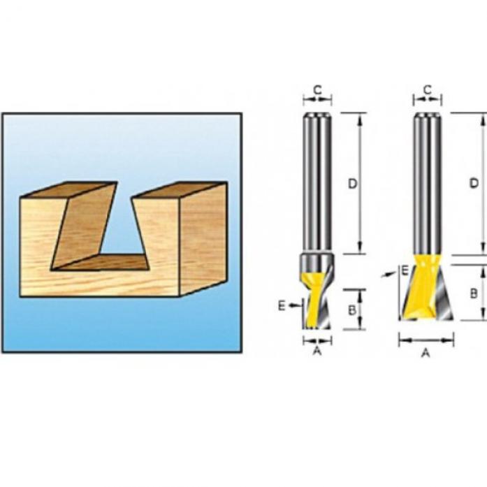"""Фреза """"ласточкин хвост"""" (9,5х9,5х32 мм; хвостовик 8 мм; 2 лезвия) Makita D-10883"""