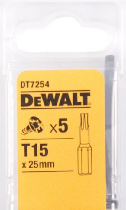 Набор бит DeWalt Тоrх Т15 25мм 5шт DT 7254