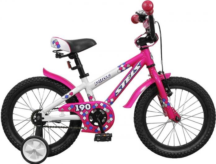 """Велосипед Stels Pilot 190 16"""" Велосипед 1 скорость рама алюминий 8,5"""" с боковыми колесами белый/розовый 2015"""