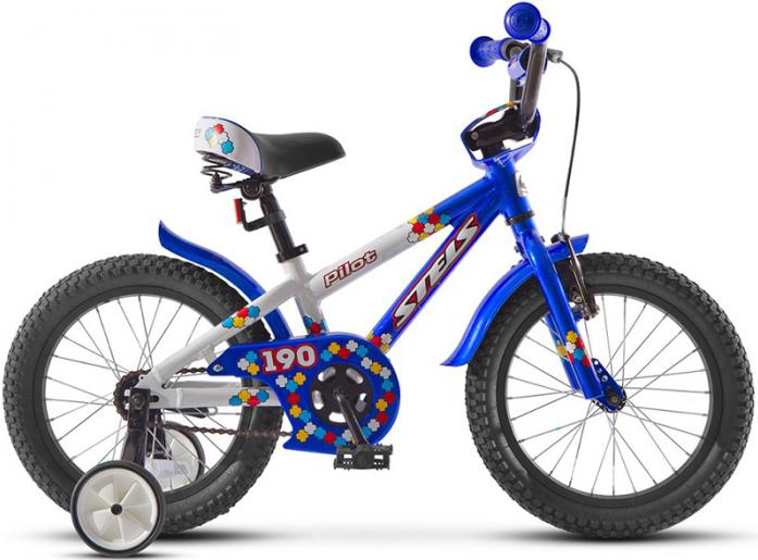 """Велосипед Stels Pilot 190 16"""" Велосипед 1 скорость рама алюминий 8,5"""" с боковыми колесами белый/синий 2015"""