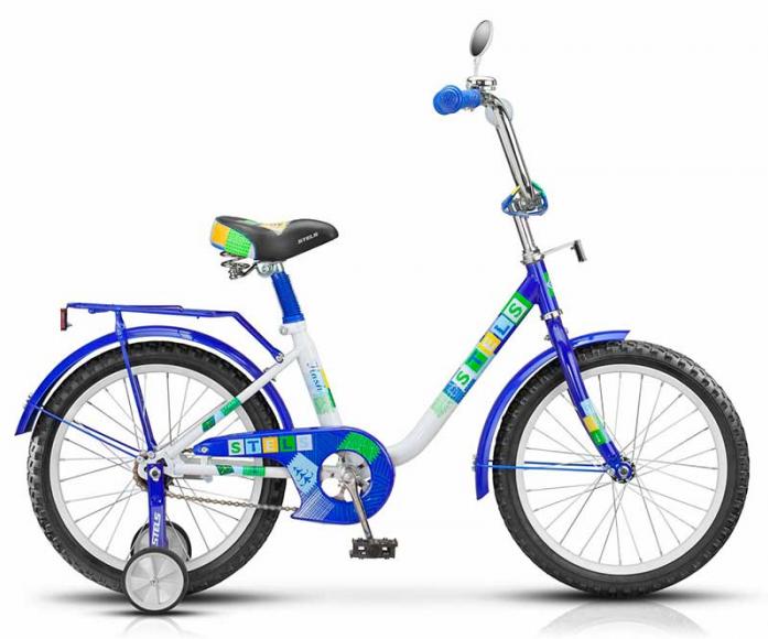 """Велосипед Stels Flash 12"""" Велосипед 1 скорость сталь 8,5"""" с боковыми колесами и ручкой синий/белый 2015"""