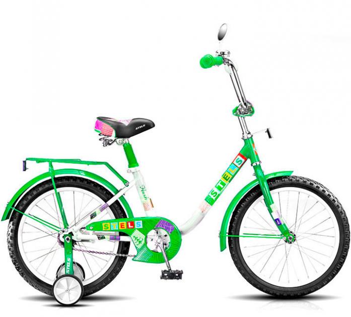 """Велосипед Stels Flash 18"""" Велосипед детский 18"""" 1 скорость рама сталь 11"""" с боковыми колесами зеленый/бел 2016"""