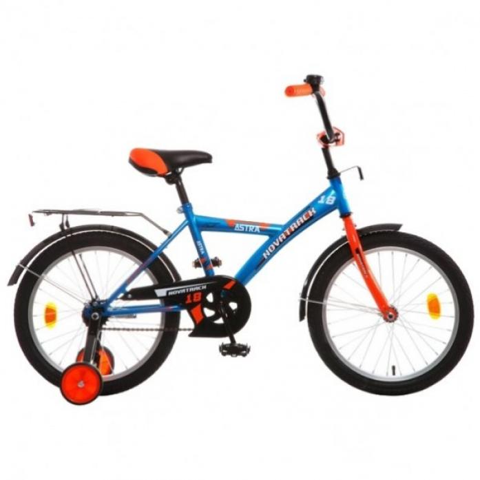 """Велосипед детский Novatrack Astra 18"""" рама сталь синий с боковыми колесами"""