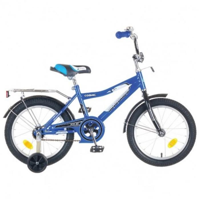 """Велосипед Novatrack Cosmic 18"""" рама сталь синий с боковыми колесами"""