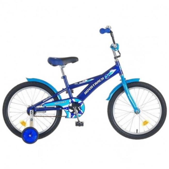 """Велосипед Novatrack Delfi 20"""" рама сталь синий-голубой с боковыми колесами"""