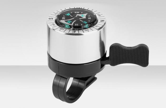 Звонок велосипедный Stels JH-500CP с компасом пластик/алюминий черно-хромированный 210054
