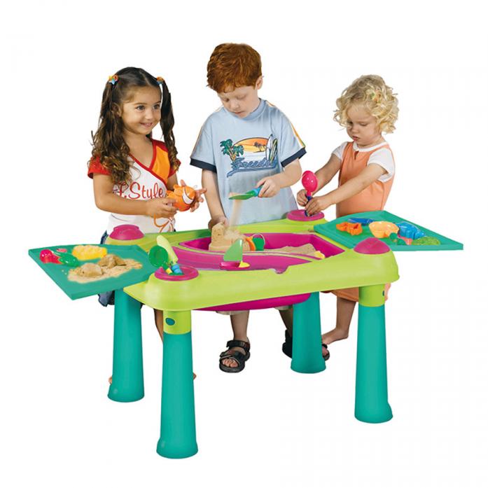 Столик Keter для детского творчества и игры с водой и песком 17184058 Зелено-фиолетовый