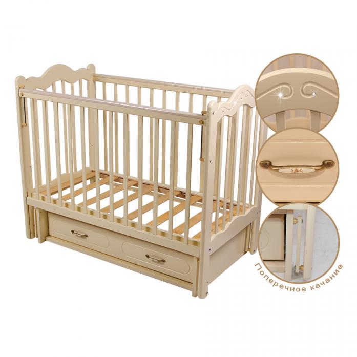 Кровать Счастливый малыш Дюймовочка стразы/слоновая кость016
