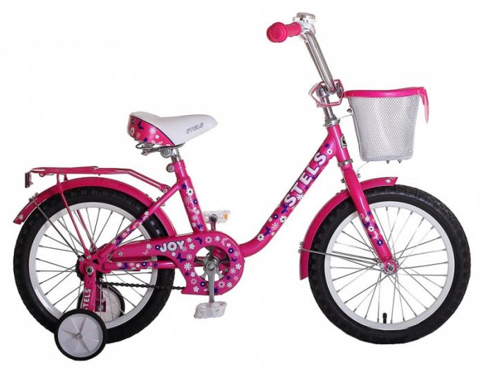 """Велосипед Stels Joy 12"""" 1 скорость сталь 8,5"""" с боковыми колесами ручкой и корзиной розовый 2015"""
