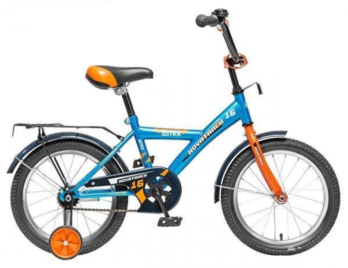"""Велосипед Novatrack Astra 16"""" рама сталь синий с боковыми колесами"""