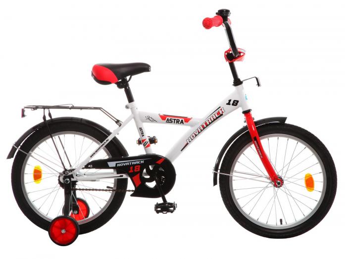 """Велосипед Novatrack Astra 18"""" рама сталь белый с боковыми колесами 183ASTRA. WT5"""