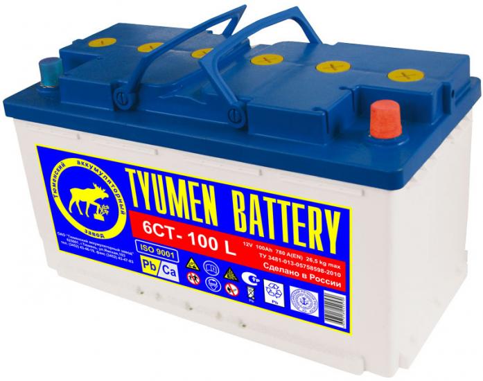 Аккумулятор TYUMEN BATTERY STANDARD 100 А/ч обратная R+