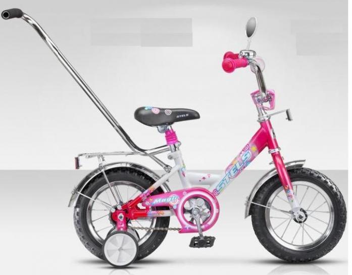 """Велосипед Stels Magic 12"""" с боковыми колесами и ручкой розово/белый"""