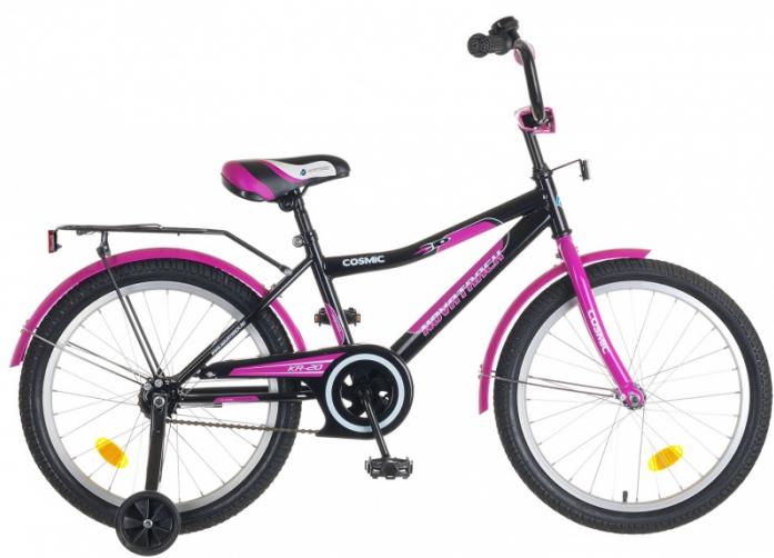 """Велосипед Novatrack Cosmic 20"""" рама сталь красный с боковыми колесами"""