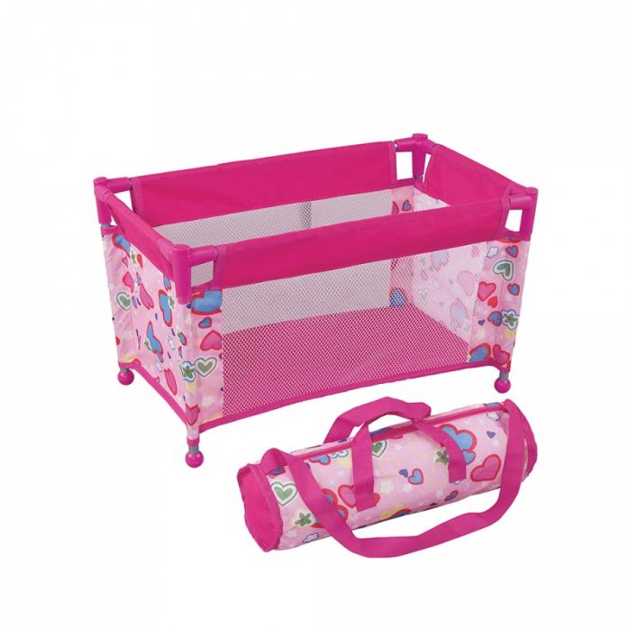 Кукольный манеж с сумкой FEI LI TOYS, розовый FL8152
