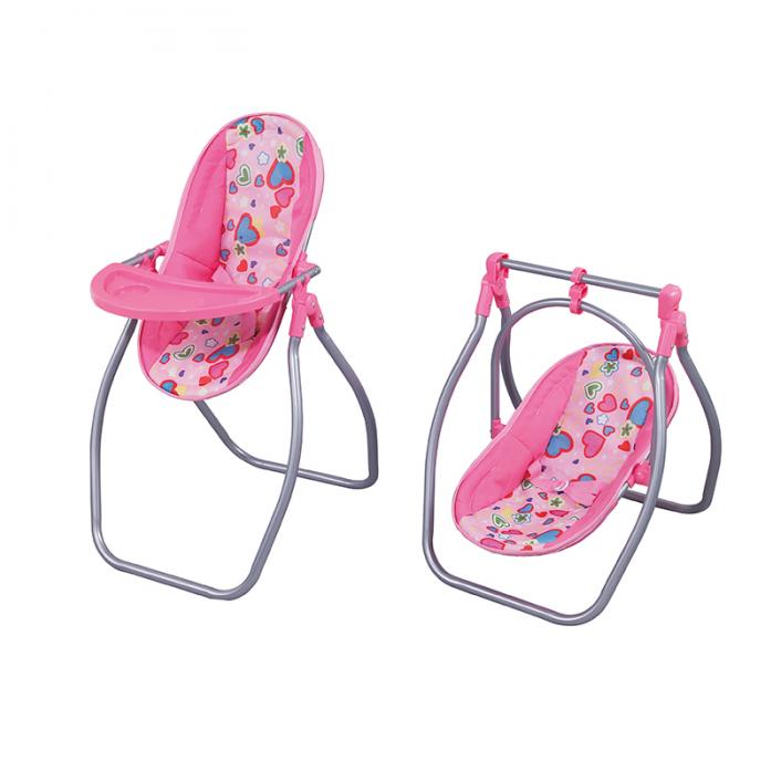Кукольный стул для кормления/ Качели 2 в 1 FEI LI TOYS, розовый FL8268-C