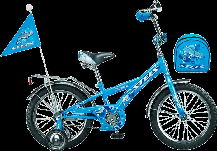 """Велосипед детский Stels Dolphin 16"""" 1 скорость рама сталь 11"""" с боковыми колесами белый-морс-волны"""