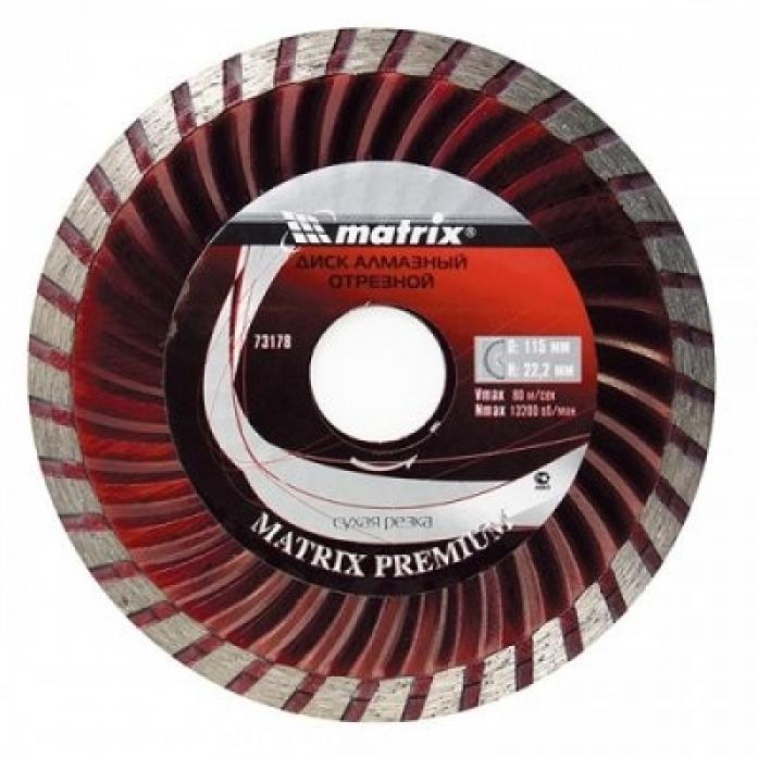 Круг отрезной алмазный Matrix 73178 Turbo 115х22мм