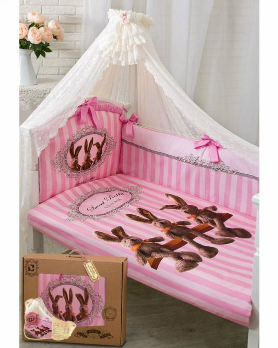 Комплект постельного белья Золотой Гусь Sweet Rabbit розовый 7 предметов