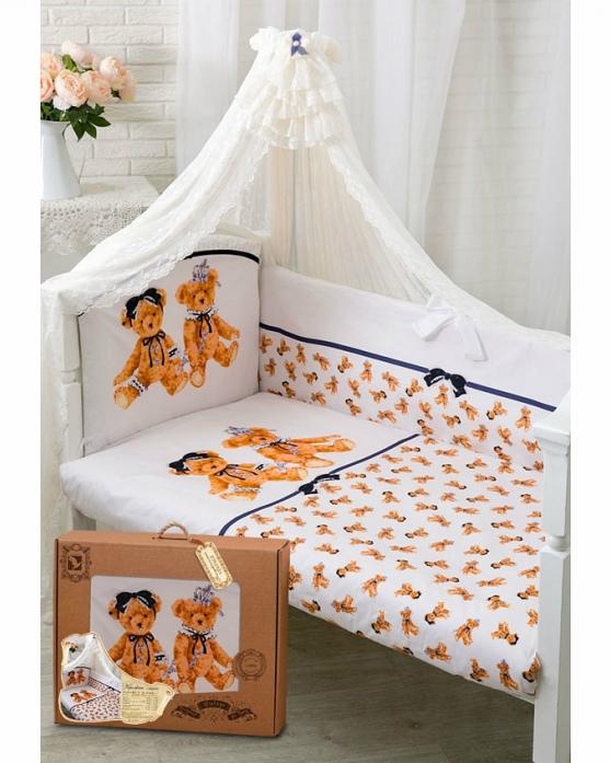 Комплект постельного белья Золотой Гусь Королевские мишки 7 предметов белый 1731