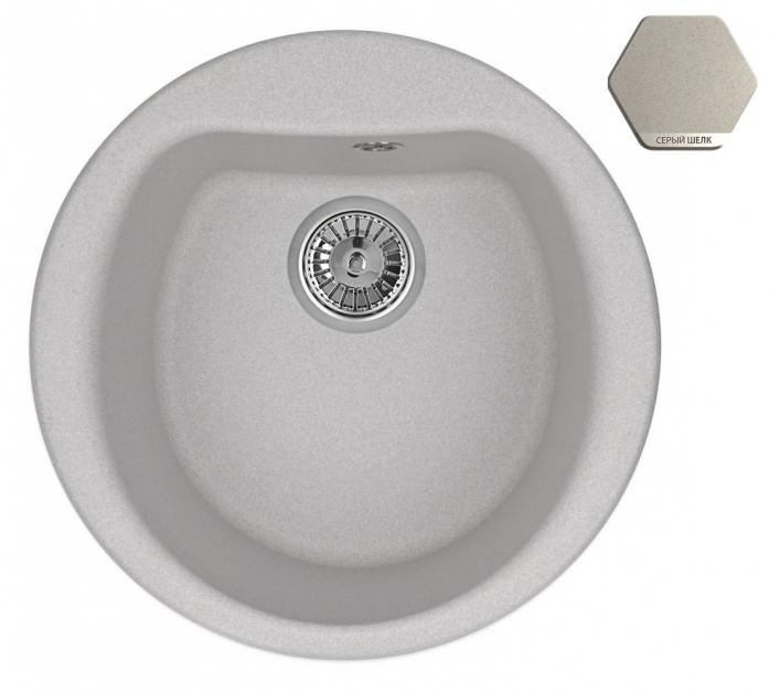 Кухонная мойка Weissgauff RONDO 500 Eco Granit серый шелк