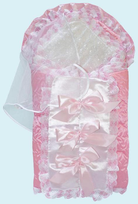 Конверт на выписку Little People Соня 9 предметов Розовый мех Зима 11106
