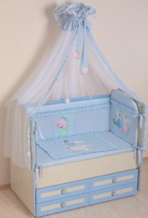 Комплект постельного белья Сдобина На лесной полянке 67.1 голубой (7 предметов)