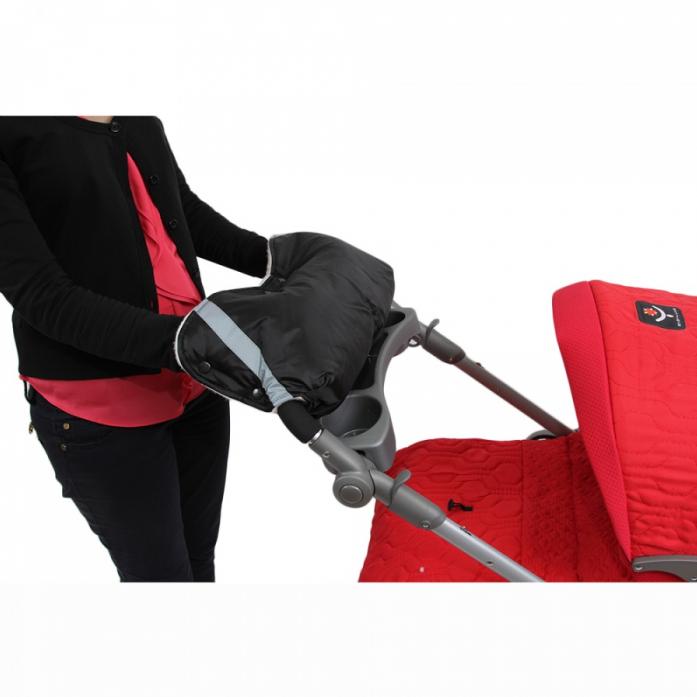 Муфта BamBola для коляски шерстяной мех+плащевка+кнопки Черная 053В