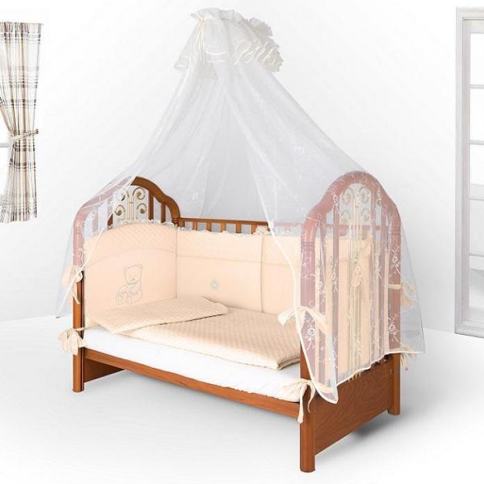 Комплект постельного белья EcoLine Скандинавия Кристалл Мишка плюшевый 77721 Сатин Персиковый (6 предметов)