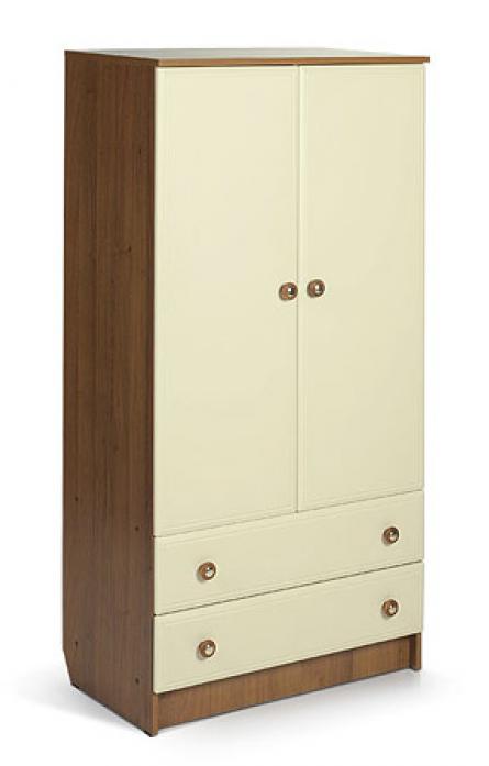 Шкаф для детской комнаты Мебеком ДМ 202.2 корпус-орех, фасад-слоновая кость